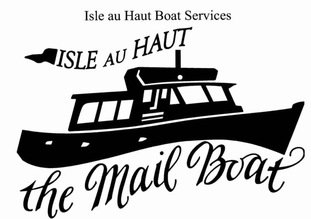 White background with black print and logo of a boat, Isle Au Haut Boat Services the Mail Boat