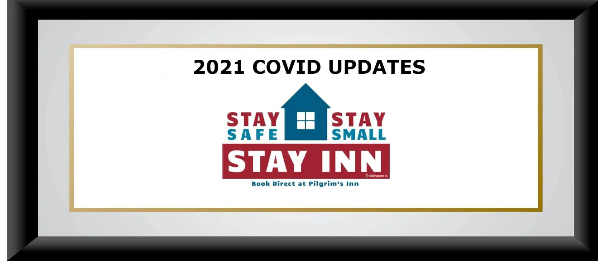 Text that says Stay safe, Stay Small, Stay inn with house graphic in red, white and blue, the words 2021 COVID Updates