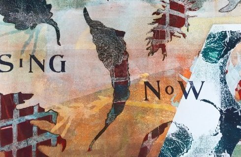 Original art with abstract leaves and textures and the words Sing Now