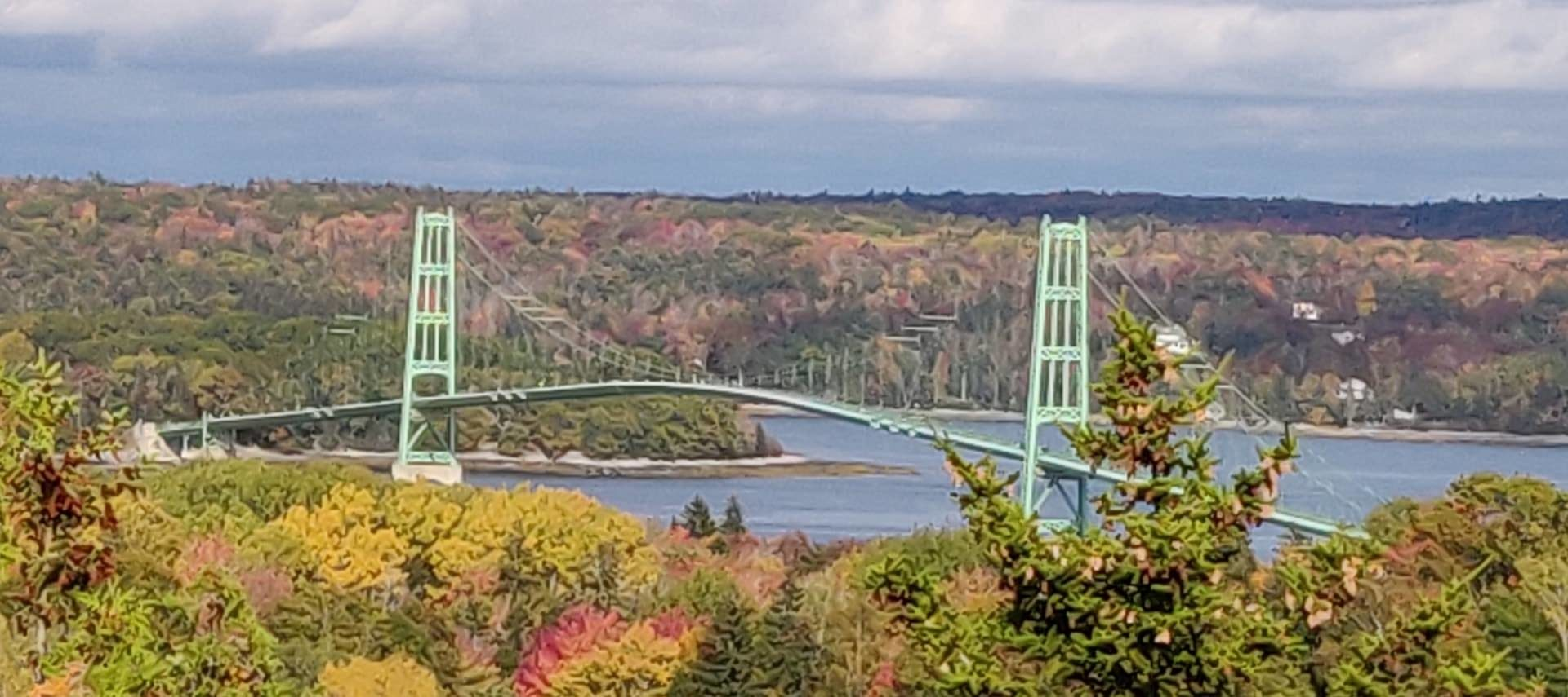 View of a large bridge over a body of water surrounded by many trees with fall color